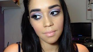Maquiagem Prata e Lilás para Festas - fashionosolhos.com