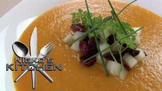 Pumpkin Soup With Cranberry & Apple - Thanksgiving Recipe