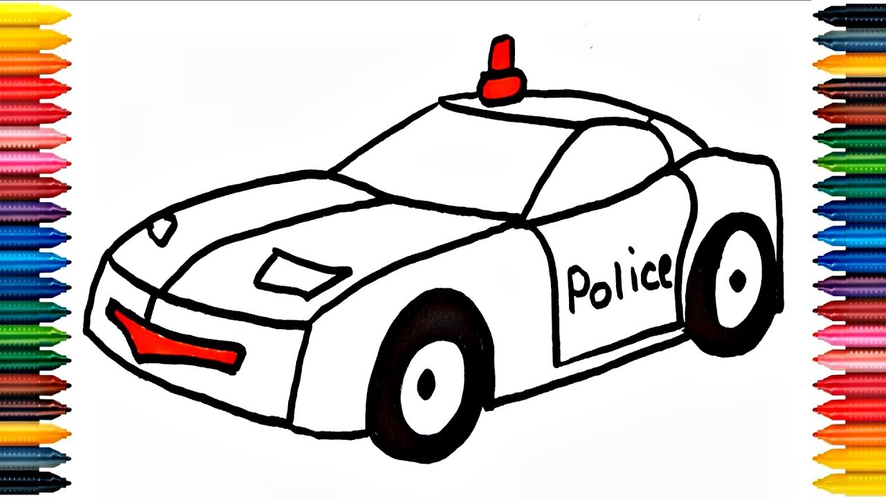police car draw learn how to draw police car colors picture