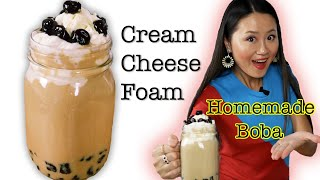 How to make boba tea at home(Cream cheese foam Bubble Tea)