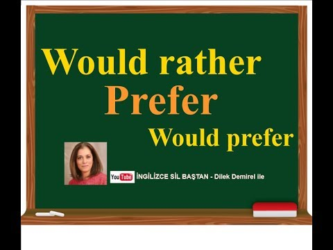 İngilizce Would rather, Prefer, Would Prefer