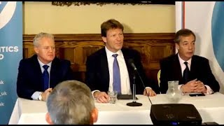 Brexit Party by-election candidate for Peterborough: Mike Greene, w/ Nigel Farage & Richard Tice