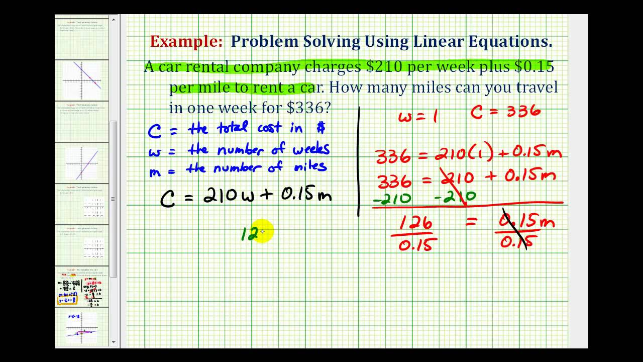 Ex: Linear Equation Application (Cost of a Rental Car) - YouTube