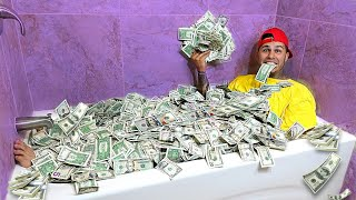 Taking A Bath In 1 Million Dollars CASH!!!