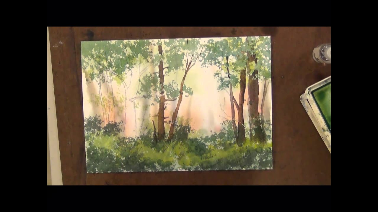 How to Sponge Trees with Watercolor Painting  YouTube