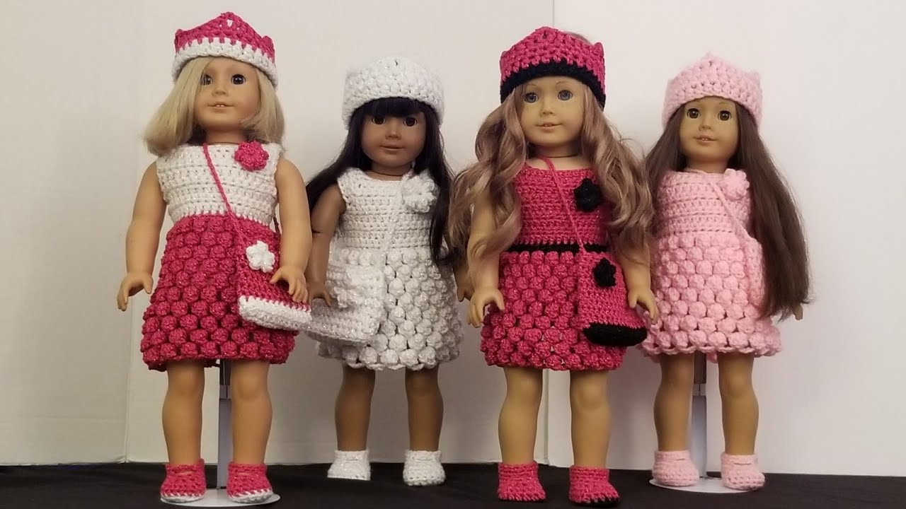 Crocheted Party Dress For American Girl Doll Youtube