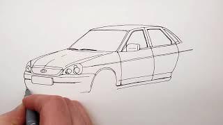 Автомобиль Лада Приора ВАЗ 2170 ★ Как Нарисовать Машину Ладу Приору седан поэтапно