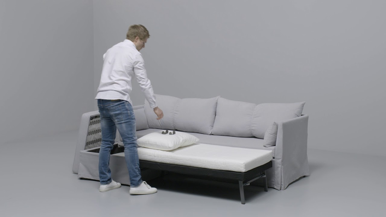 ikea sandbacken anleitung vom ecksofa zum bett youtube. Black Bedroom Furniture Sets. Home Design Ideas