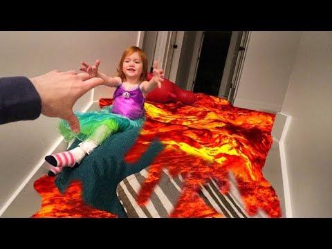 FLOOR IS LAVA!! Saving Adley The Mermaid!