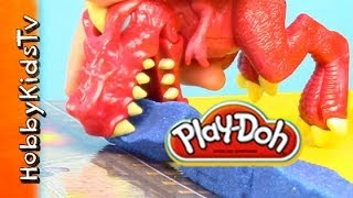 PLAY-DOH Rex Dinosaur Smash Launch - Crayola Box Open, Review, Play- Create 2 Destroy