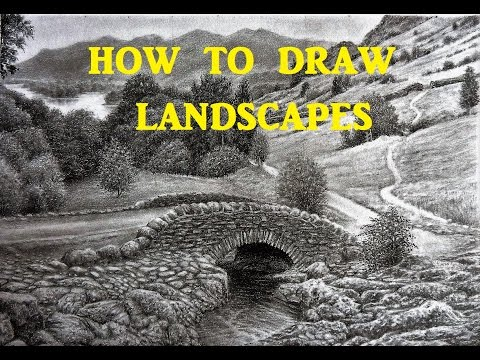 How To Draw Landscapes, Rocks, Mountains, Trees, Graphite Tips and Techniques, Grid Method