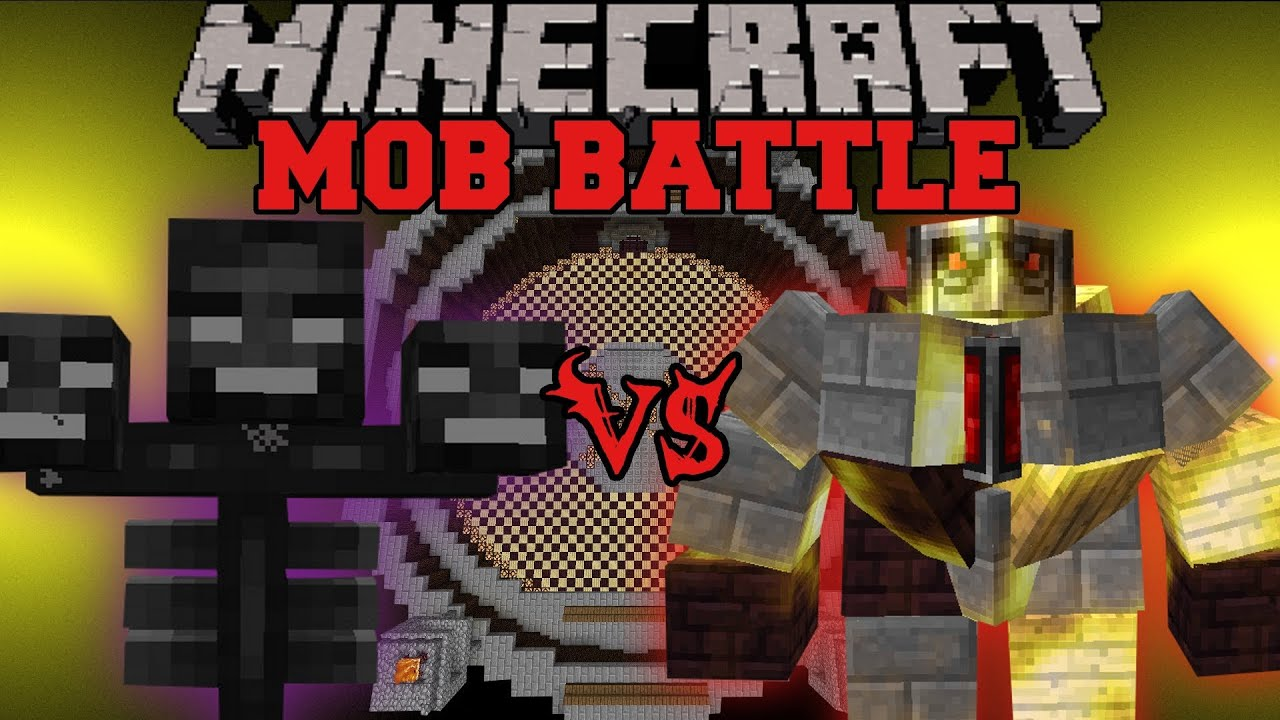 wither boss vs big golem minecraft mob battles mo