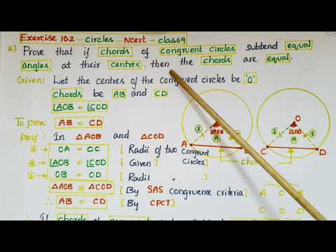 Q2 -Ex10.2- Prove that if chords of congruent circles subtend equal angles at their centres-class9