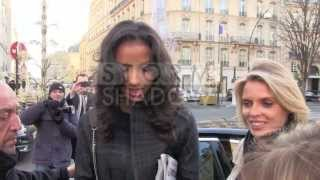 EXCLUSIVE - MISS FRANCE 2014 leaving L'Avenue Restaurant in PARIS posing with FANS