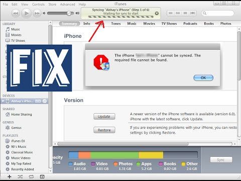 iphone sync error how to fix sync problem itunes error syncing ipod 2624