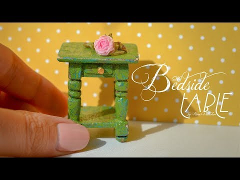 miniature-wooden-bedside-table-with-old-cracked-paint-🌳-beautiful-tutorial