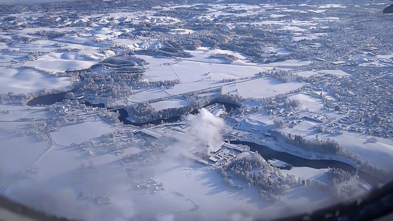 Oslo airport snow landing | winter wonderland | HD - YouTube