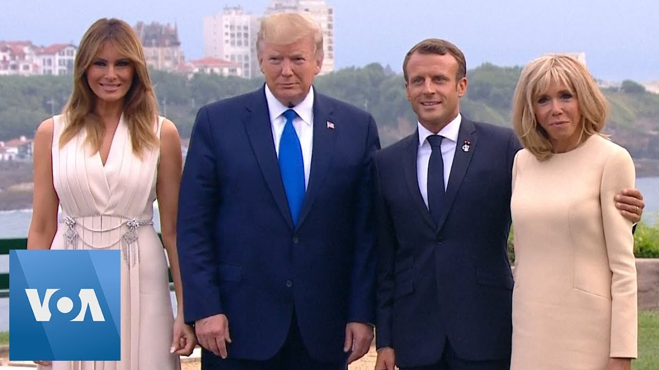 Macron Hosts Donald Trump Boris Johnson And Angela Merkel For Dinner As G7 Summit Opens Youtube