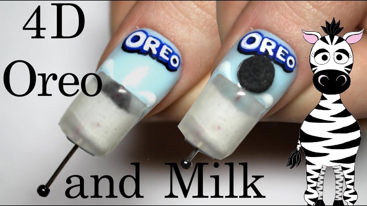 4d Oreo Dipped In Milk Acrylic Nail Art Tutorial