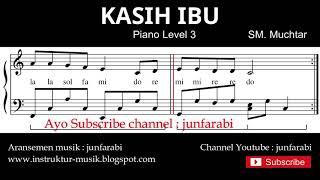 notasi balok kasih ibu - tutorial piano grade 3 - not lagu anak indonesia - instrumen
