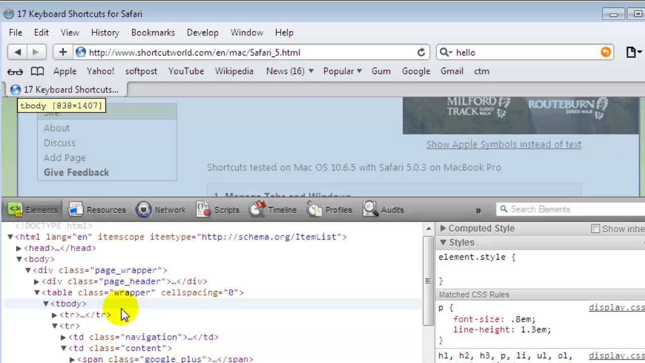 How to view html source in Safari