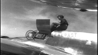 Amelia Earhart gets into her Lockheed L-10E Electra and takes off. HD Stock Footage