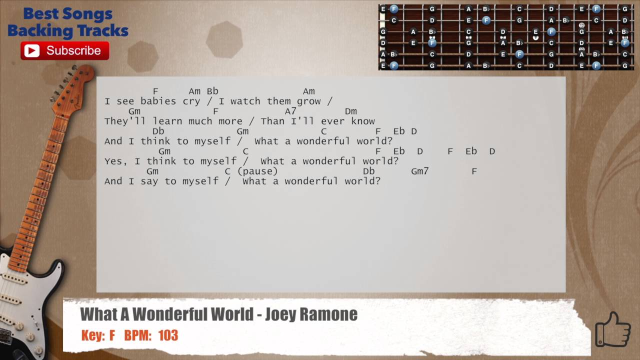 What A Wonderful World Rock Joey Ramone Guitar Backing Track