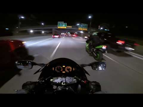 SPORTBIKES RIPPING THE FREEWAY AT NIGHT