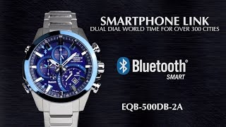 OFFICIAL VIDEO ~ EQB-500DB CASIO Bluetooth Smartphone Link ~ LovinLifeMM(The EQB-500DB makes the perfect companion for both business men and globetrotters. The watch communicates with smartphones using Bluetooth® ..., 2016-06-07T18:34:25.000Z)