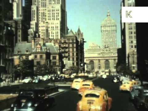 1940s Drive Into New York, Rare Colour Footage, Manhattan