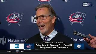 John Tortorella postgame after Blue Jackets' penalty-shot overtime win over Maple Leafs