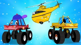 police cars helicopter jump into the mud to save little red truck videos for kids car cartoons