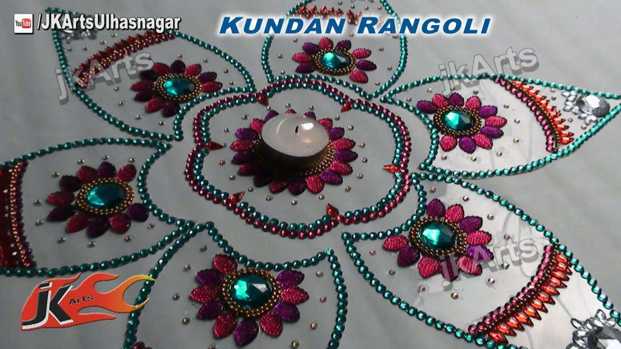 Diy how to make kundan rangoli rhinestone candle holder for Home made rangoli designs