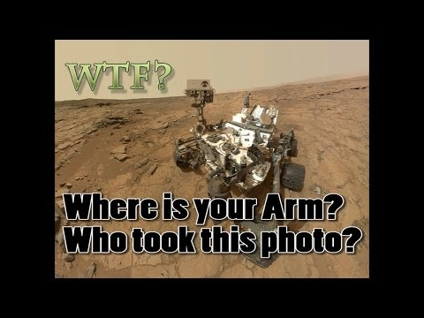 How does the NASA's Curiosity rover take a selfie without an arm in the photo?