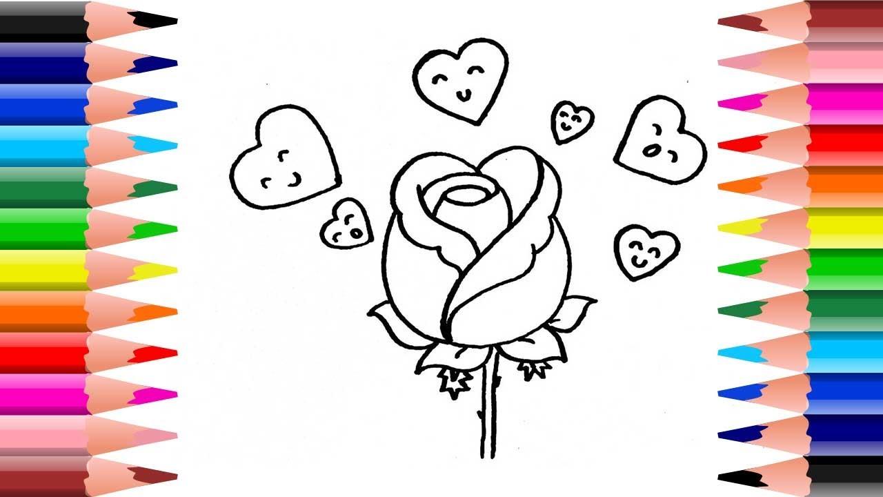 วาดรูประบายสี ดอกกุหลาบสีแดง วันวาเลนไทน์ |Coloring and Drawing rose | Valentine's Day