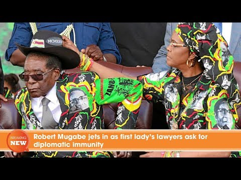 Robert Mugabe jets in as first lady's lawyers ask for diplomatic immunity