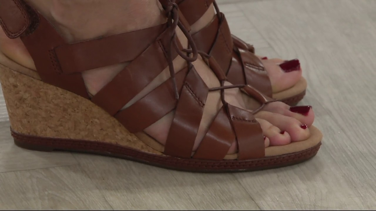 726b93a1192206 Clarks Leather Lace-up Wedge Sandals - Helio Mindin on QVC - YouTube