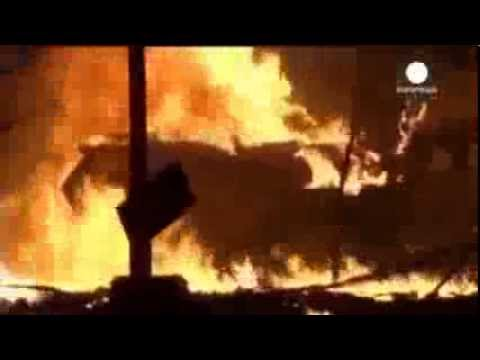 Ukraine - Protesters Destroy Armored Vehicle With Molotov Cocktails