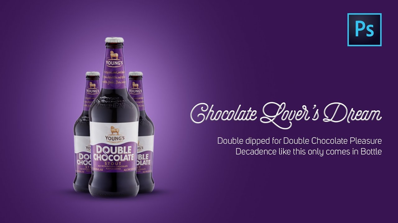 Clean And Minimal Advertising Poster Chocolate Bottle | Photoshop CC Tutorial