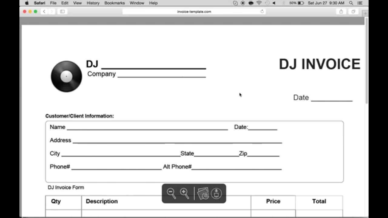 how to make a disc jockey (dj) invoice | excel | word | pdf - youtube, Simple invoice