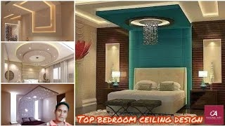 #60 Top bedroom pop ceiling with background panels design idea/celling art