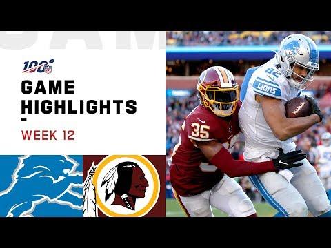 Lions Vs. Redskins Week 12 Highlights | NFL 2019