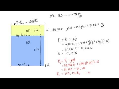 Water and oil are in a tank, calculate pressure at the bottom - YouTube