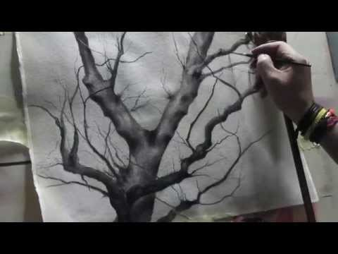 Speed drawing tree - charcoal and graphite Viarco water-soluble  on paper