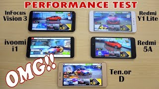 Perfofmance  Test - Redmi 5A vs 10.or D vs Infocus Vision 3 vs Ivoomi i1 vs Redmi Y1 lite