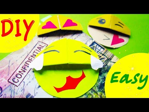 DIY Origami How to Make a Paper Bookmark EMOJI Smiley. Bookmark Corner for a book Easy Tutorial