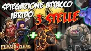SPIEGAZIONE DI UN ATTACCO IBRIDO 3 STELLE: GOLEM + BOCCIATORI + LAVALOONION |CLASH OF CLANS ITA