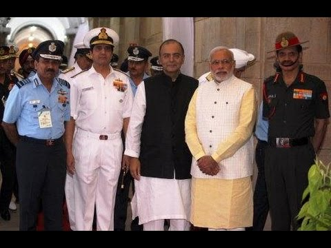 PM Modi with the three Service Chiefs at the Combined Commanders Conference