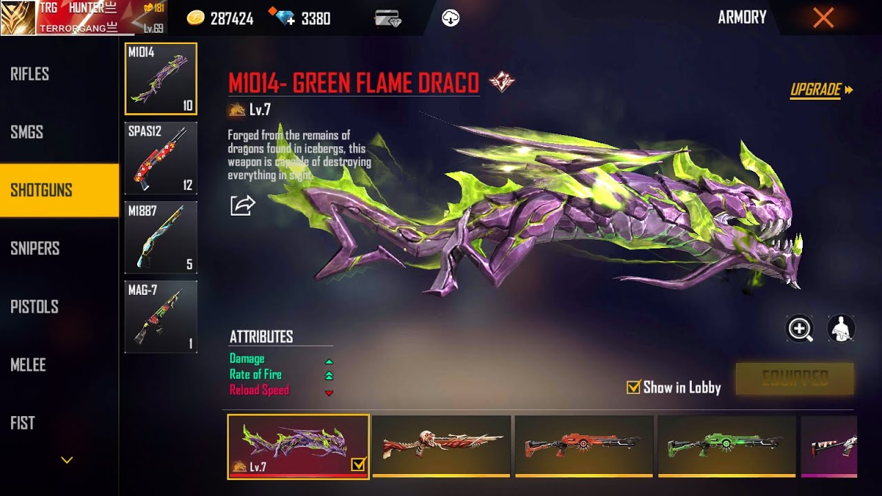 NEW GREEN FLAME DRACO M1014 IS MAXEX UP !!!!!!!!!!! TRG GAMER