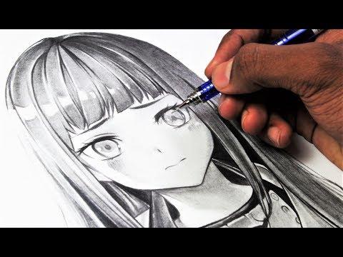 one-pencil-art---drawing-hinata-hyuga-うずまきヒナタ